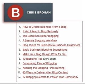 Chris Brogan has some great blog ideas