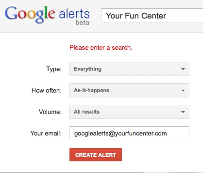 Google Alert set-up sample