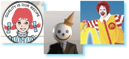 Three successful fast-food mascots.