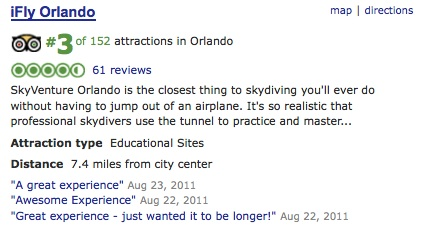 iFly places number 3 on TripAdvisor